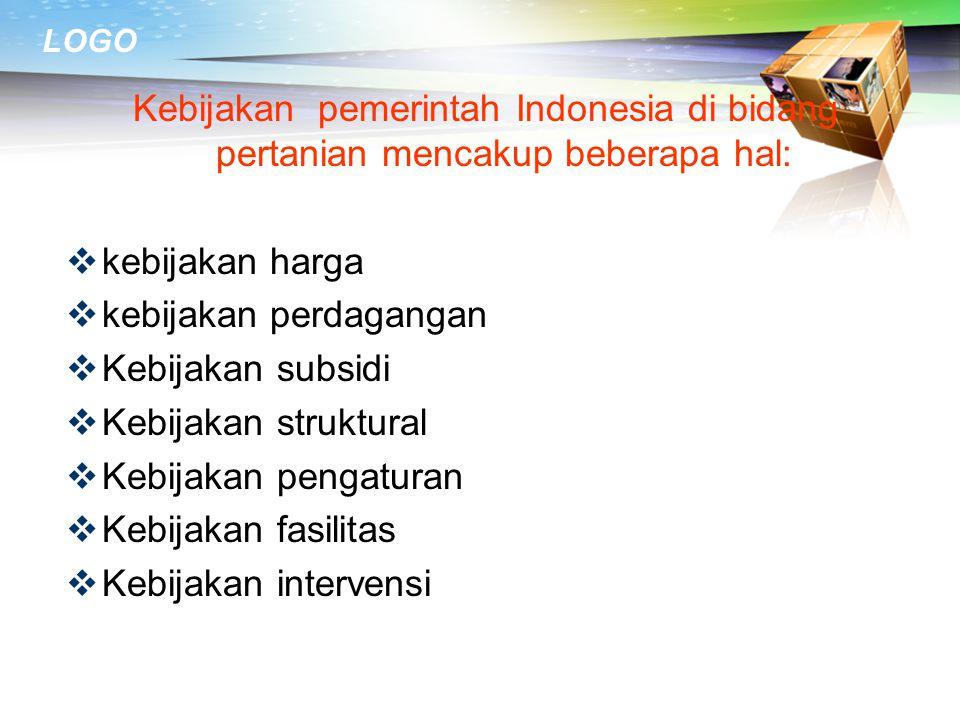 Kebijakan pemerintah Indonesia di bidang pertanian mencakup beberapa hal: