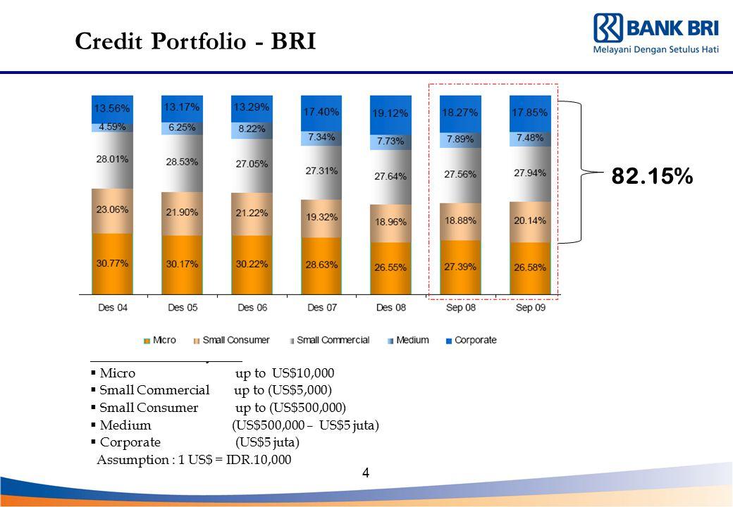 Credit Portfolio - BRI 82.15% Loan Definition : By Size