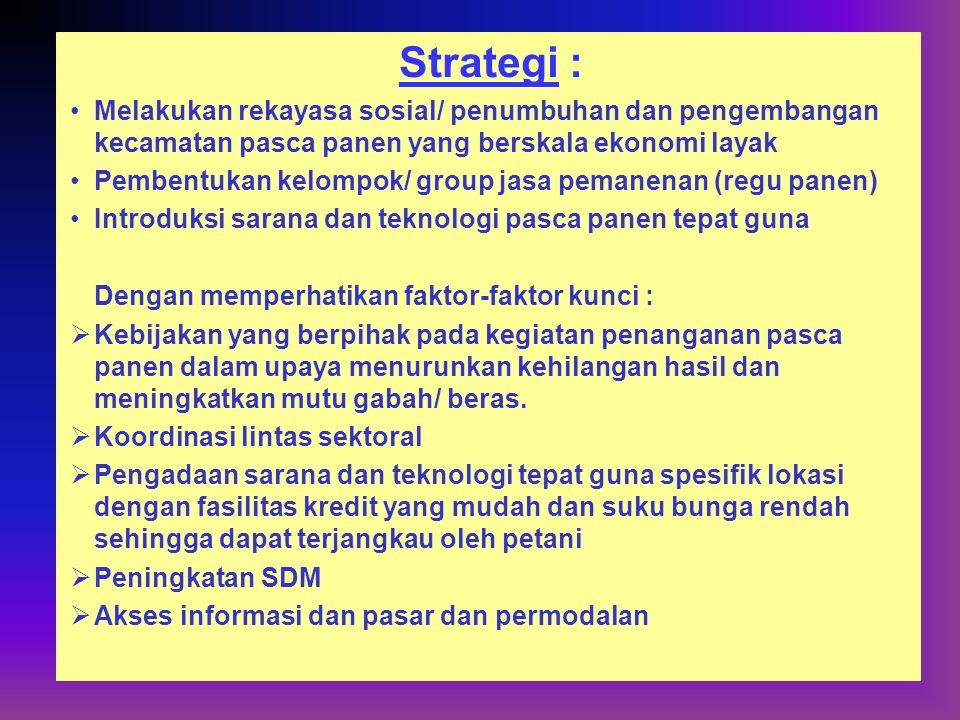 Strategi : Melakukan rekayasa sosial/ penumbuhan dan pengembangan kecamatan pasca panen yang berskala ekonomi layak.