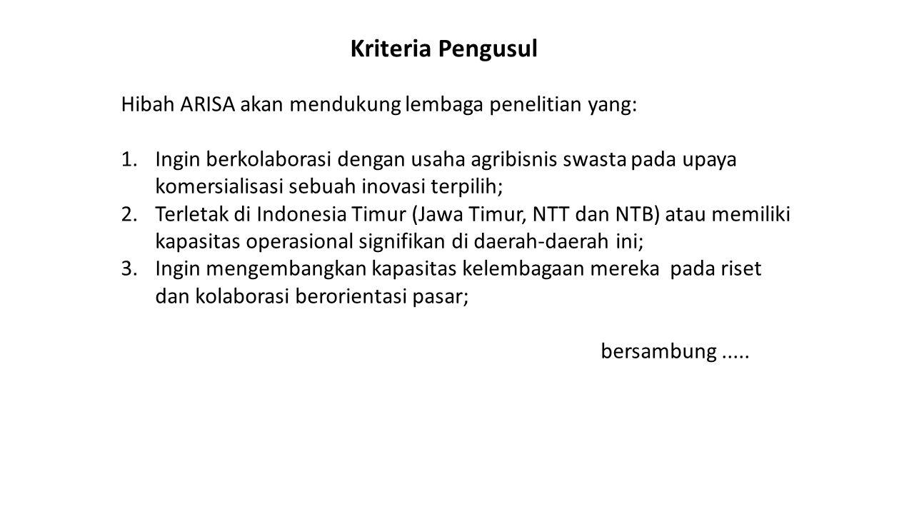 Kriteria Pengusul Hibah ARISA akan mendukung lembaga penelitian yang: