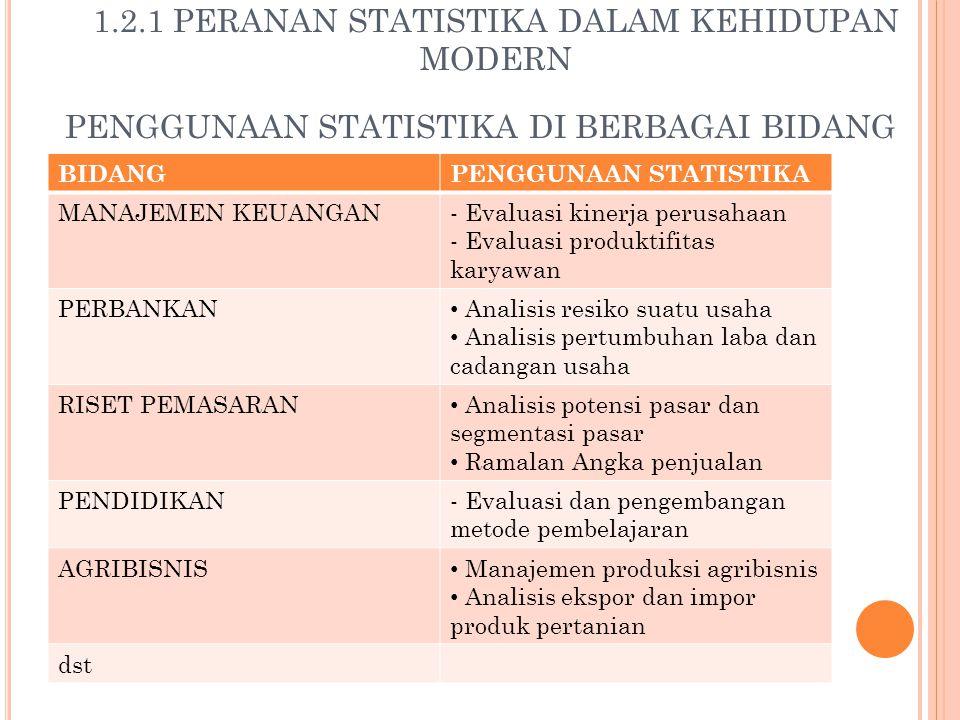 PENGGUNAAN STATISTIKA DI BERBAGAI BIDANG