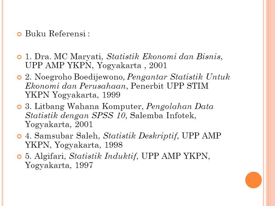 Buku Referensi : 1. Dra. MC Maryati, Statistik Ekonomi dan Bisnis, UPP AMP YKPN, Yogyakarta , 2001.