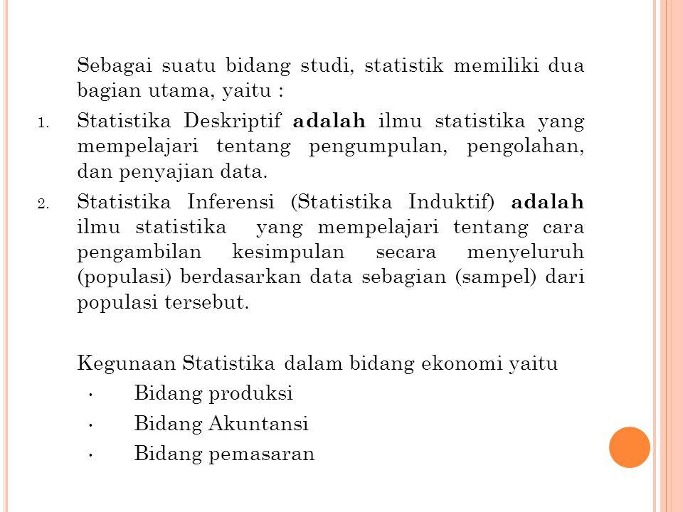 Sebagai suatu bidang studi, statistik memiliki dua bagian utama, yaitu :