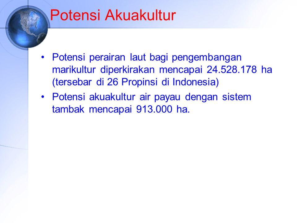 Potensi Akuakultur Potensi perairan laut bagi pengembangan marikultur diperkirakan mencapai 24.528.178 ha (tersebar di 26 Propinsi di Indonesia)
