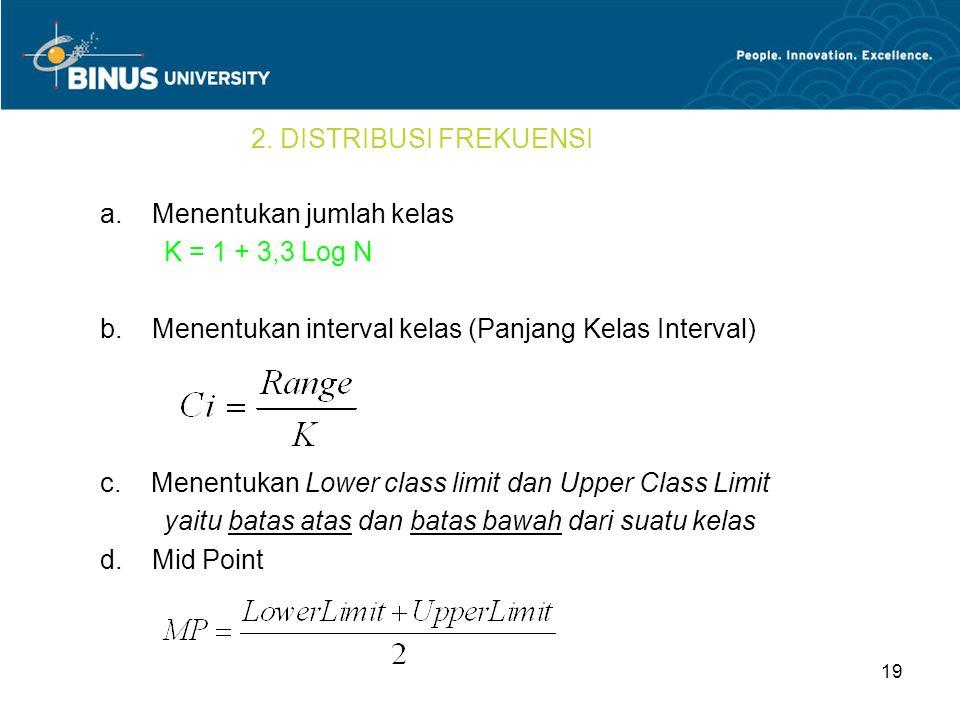 2. DISTRIBUSI FREKUENSI a. Menentukan jumlah kelas. K = 1 + 3,3 Log N. b. Menentukan interval kelas (Panjang Kelas Interval)