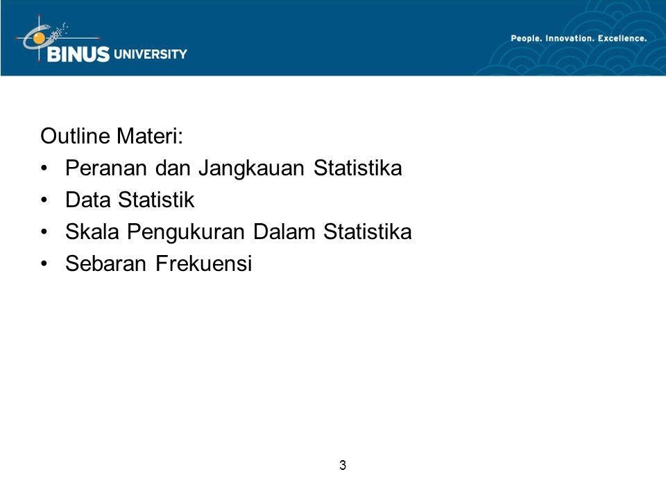 Outline Materi: Peranan dan Jangkauan Statistika. Data Statistik. Skala Pengukuran Dalam Statistika.