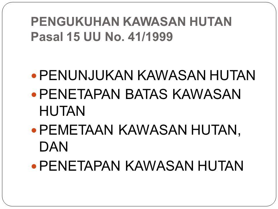 PENGUKUHAN KAWASAN HUTAN Pasal 15 UU No. 41/1999