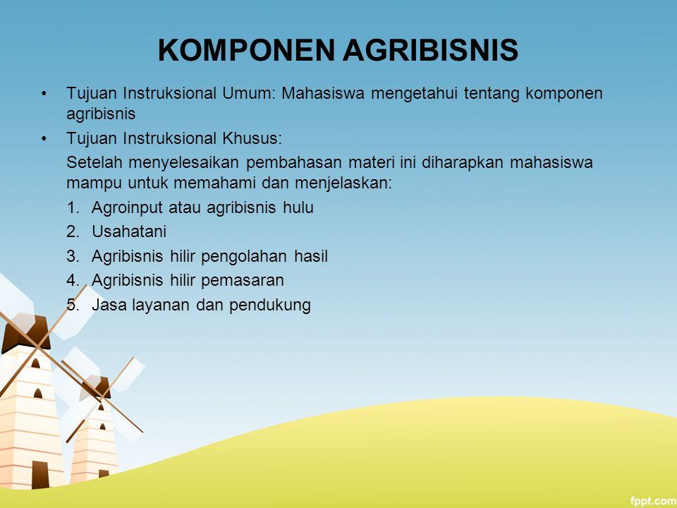 KOMPONEN AGRIBISNIS Tujuan Instruksional Umum: Mahasiswa mengetahui tentang komponen agribisnis. Tujuan Instruksional Khusus: