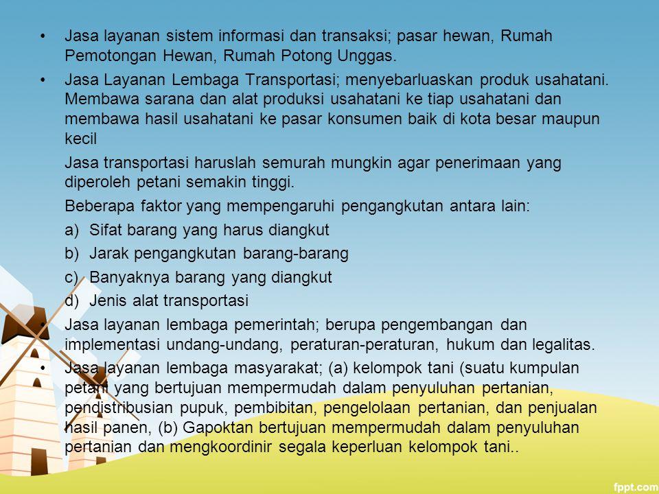 Jasa layanan sistem informasi dan transaksi; pasar hewan, Rumah Pemotongan Hewan, Rumah Potong Unggas.