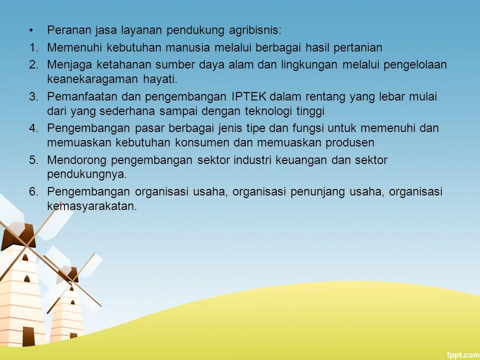 Peranan jasa layanan pendukung agribisnis: