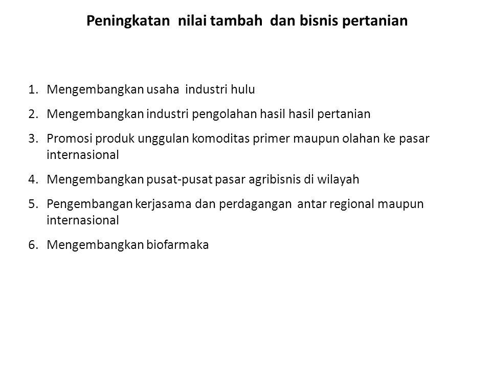 Peningkatan nilai tambah dan bisnis pertanian