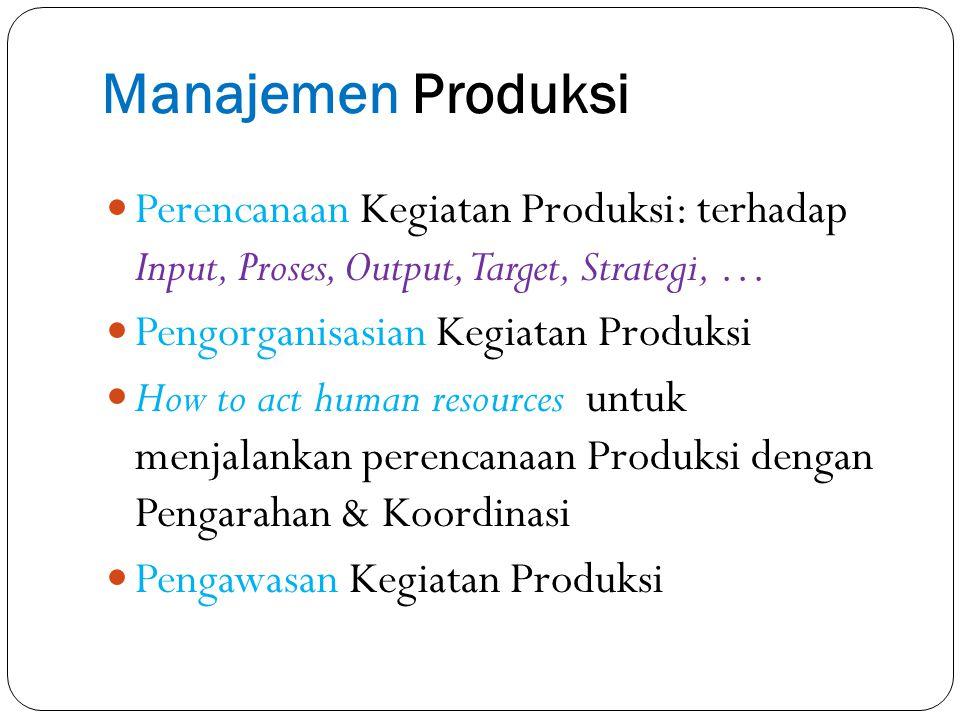 Manajemen Produksi Perencanaan Kegiatan Produksi: terhadap Input, Proses, Output, Target, Strategi, …