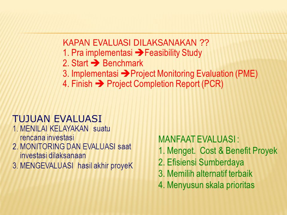 KAPAN EVALUASI DILAKSANAKAN 1. Pra implementasi Feasibility Study
