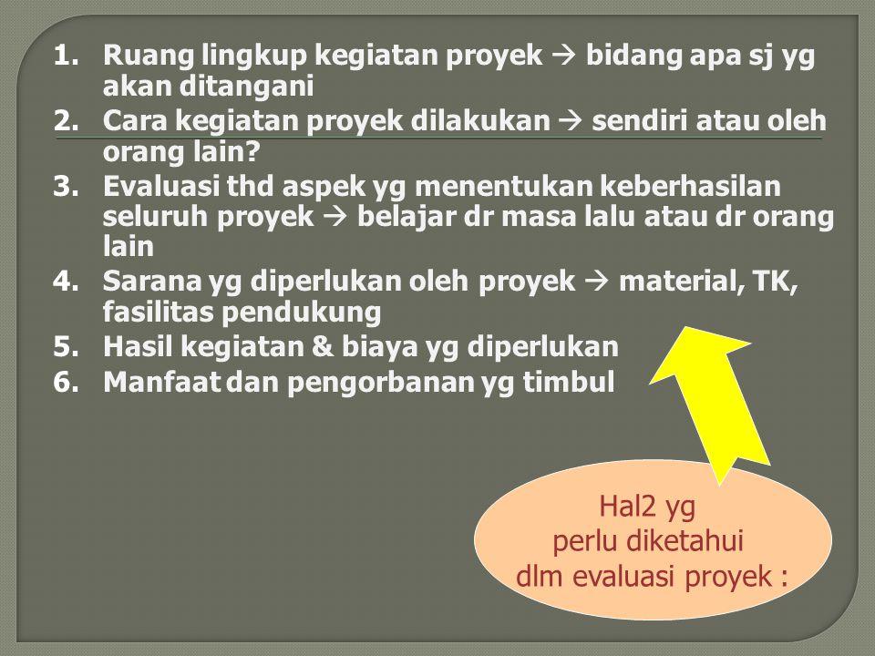Hal2 yg perlu diketahui dlm evaluasi proyek :