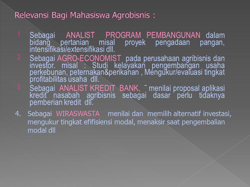 Relevansi Bagi Mahasiswa Agrobisnis :