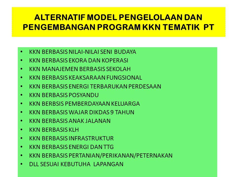 ALTERNATIF MODEL PENGELOLAAN DAN PENGEMBANGAN PROGRAM KKN TEMATIK PT