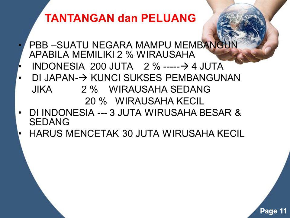 TANTANGAN dan PELUANG PBB –SUATU NEGARA MAMPU MEMBANGUN APABILA MEMILIKI 2 % WIRAUSAHA. INDONESIA 200 JUTA 2 % ----- 4 JUTA.