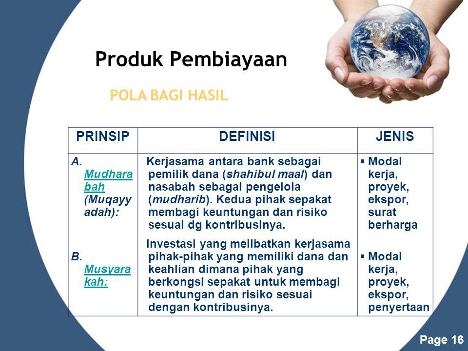 Produk Pembiayaan POLA BAGI HASIL PRINSIP DEFINISI JENIS