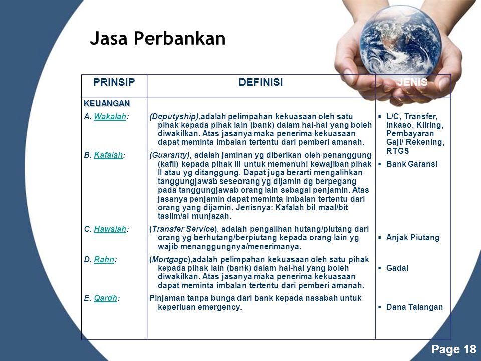 Jasa Perbankan PRINSIP DEFINISI JENIS KEUANGAN A. Wakalah: B. Kafalah: