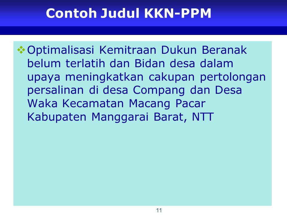Contoh Judul KKN-PPM