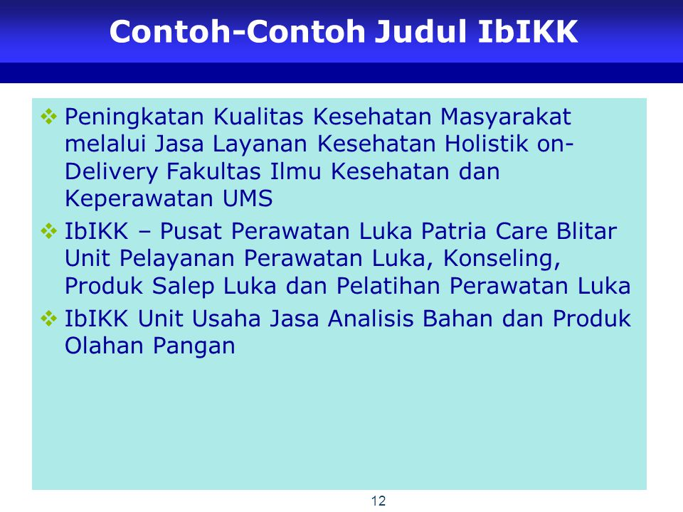 Contoh-Contoh Judul IbIKK
