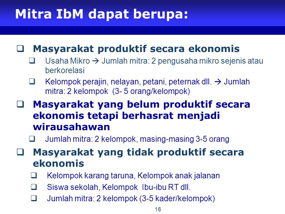 Mitra IbM dapat berupa:
