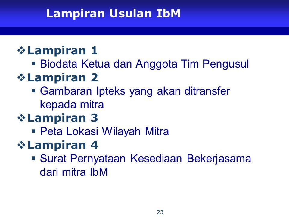 Lampiran Usulan IbM Lampiran 1. Biodata Ketua dan Anggota Tim Pengusul. Lampiran 2. Gambaran Ipteks yang akan ditransfer kepada mitra.