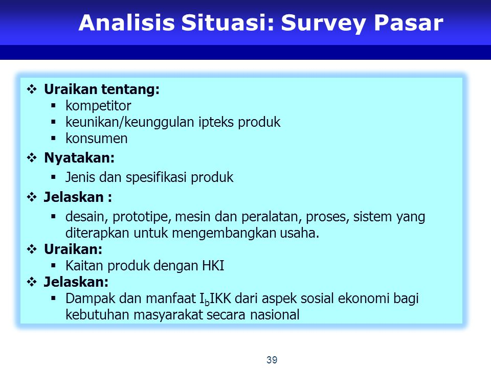 Analisis Situasi: Survey Pasar