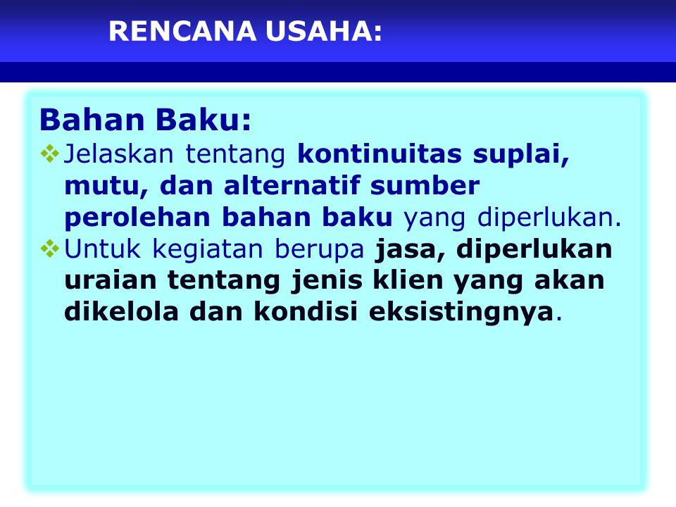 Bahan Baku: RENCANA USAHA: