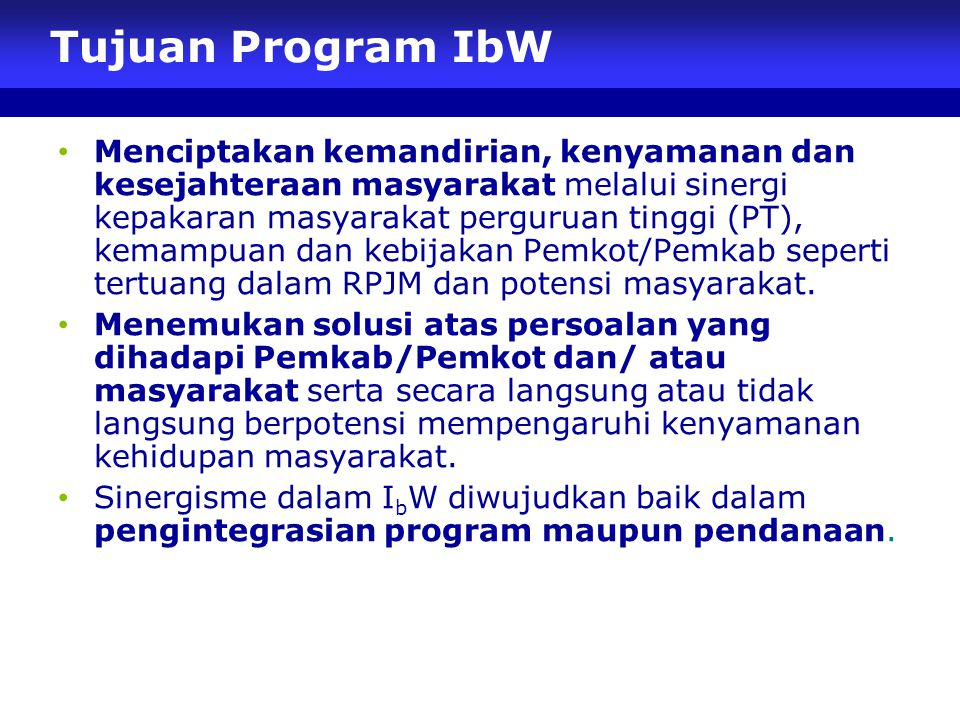 Tujuan Program IbW