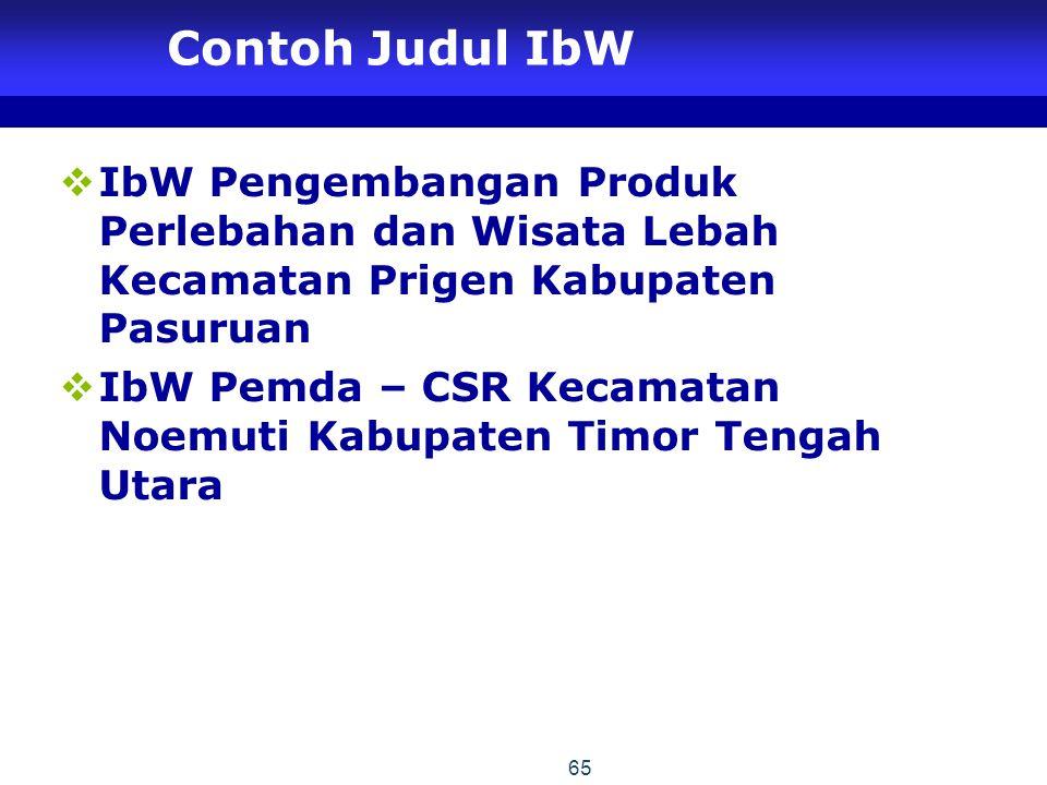 Contoh Judul IbW IbW Pengembangan Produk Perlebahan dan Wisata Lebah Kecamatan Prigen Kabupaten Pasuruan.