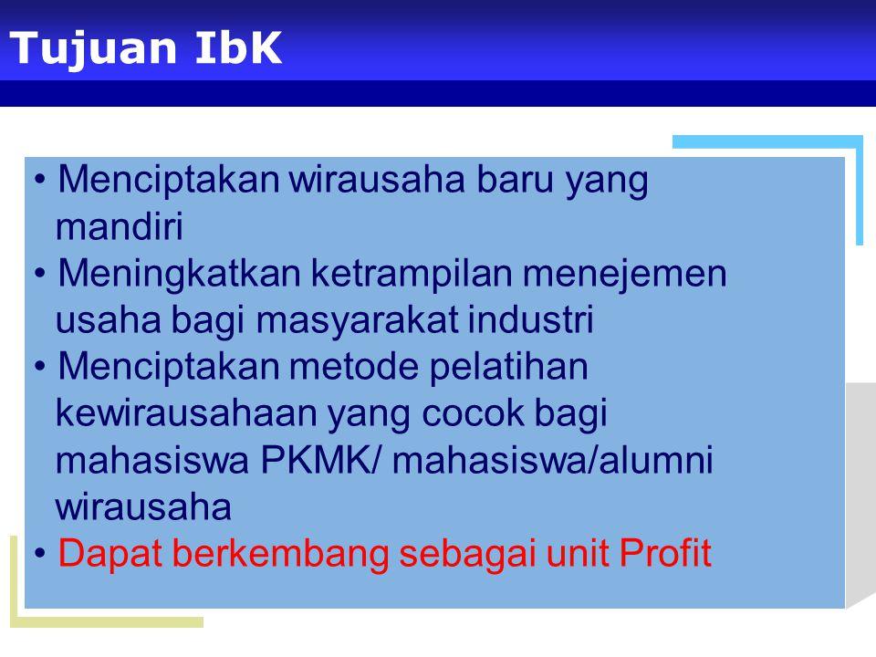 Tujuan IbK Menciptakan wirausaha baru yang mandiri