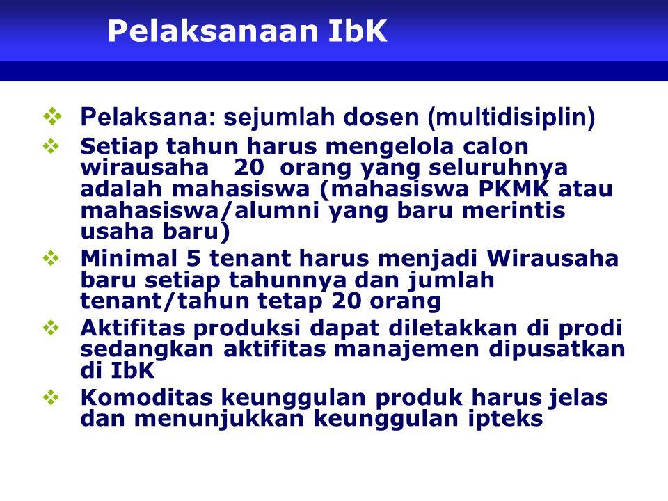 Pelaksanaan IbK Pelaksana: sejumlah dosen (multidisiplin)