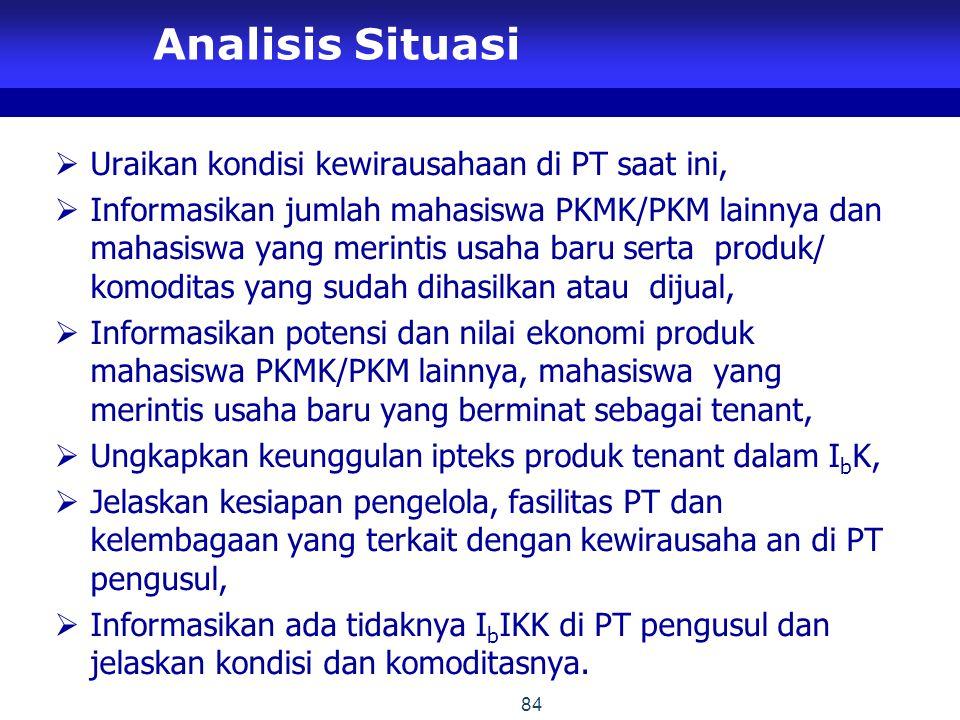 Analisis Situasi Uraikan kondisi kewirausahaan di PT saat ini,