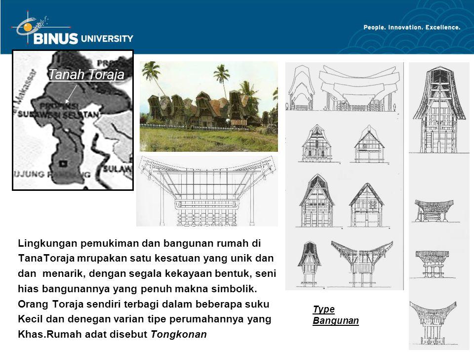 Tanah Toraja Lingkungan pemukiman dan bangunan rumah di