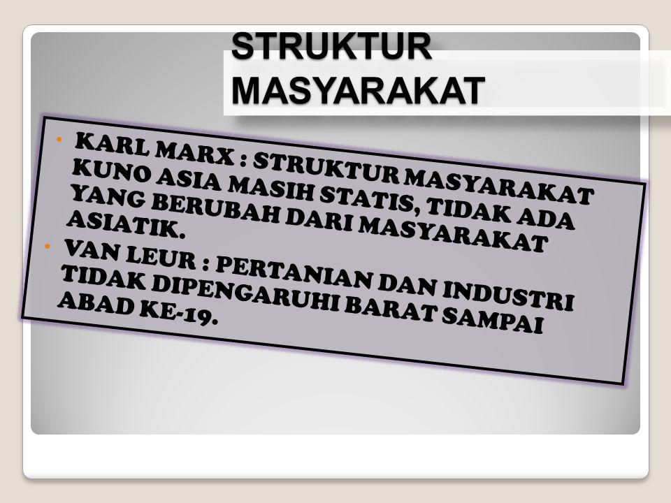 STRUKTUR MASYARAKAT KARL MARX : STRUKTUR MASYARAKAT KUNO ASIA MASIH STATIS, TIDAK ADA YANG BERUBAH DARI MASYARAKAT ASIATIK.