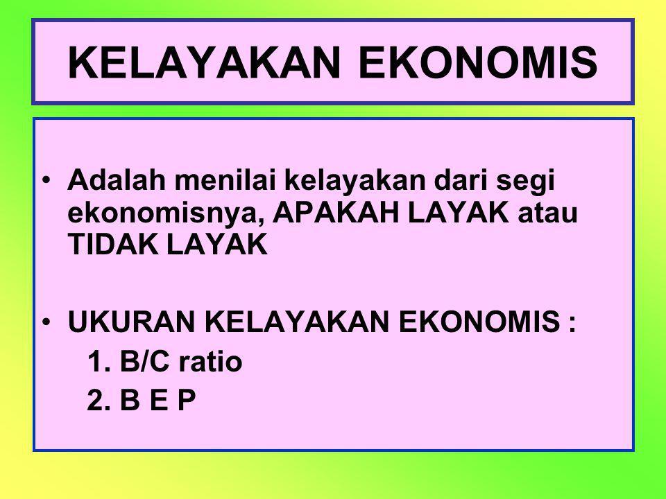 KELAYAKAN EKONOMIS Adalah menilai kelayakan dari segi ekonomisnya, APAKAH LAYAK atau TIDAK LAYAK. UKURAN KELAYAKAN EKONOMIS :