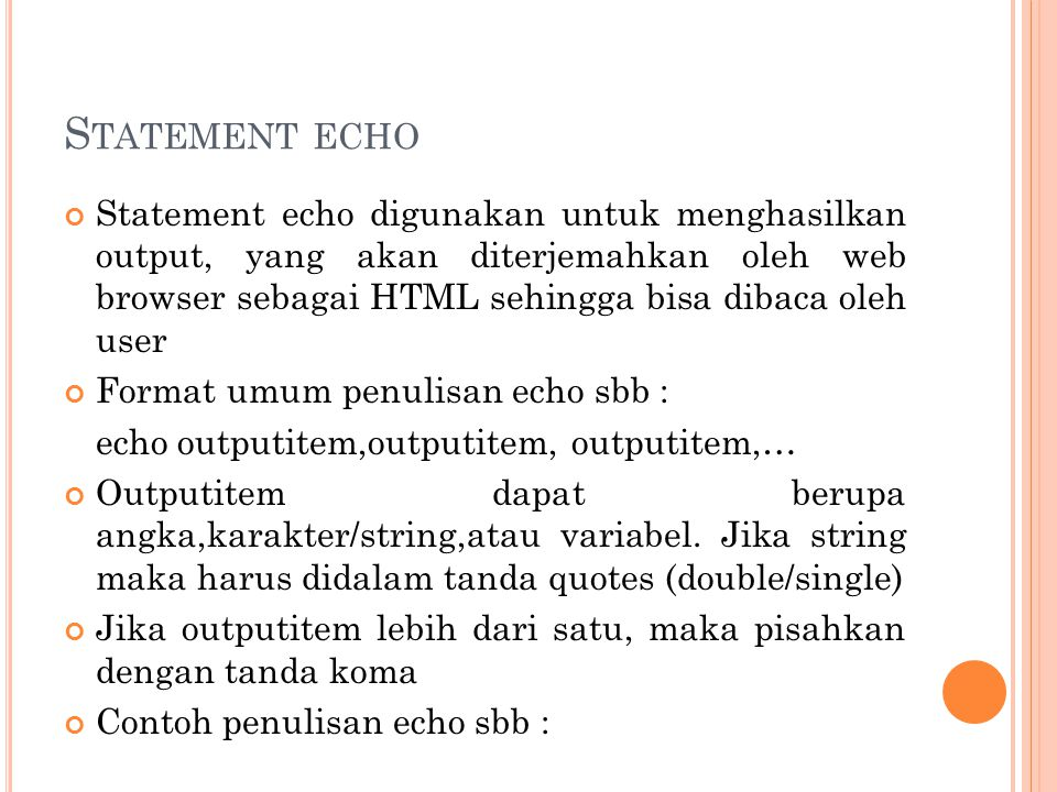 Statement echo