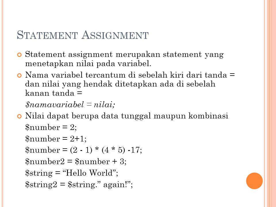 Statement Assignment Statement assignment merupakan statement yang menetapkan nilai pada variabel.