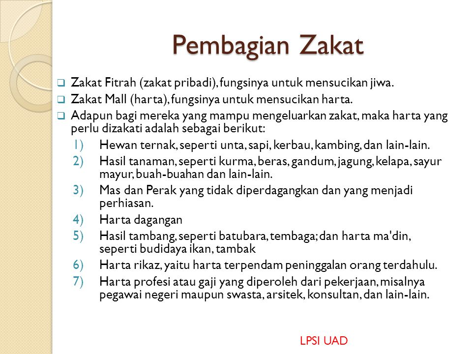 Pembagian Zakat Zakat Fitrah (zakat pribadi), fungsinya untuk mensucikan jiwa. Zakat Mall (harta), fungsinya untuk mensucikan harta.