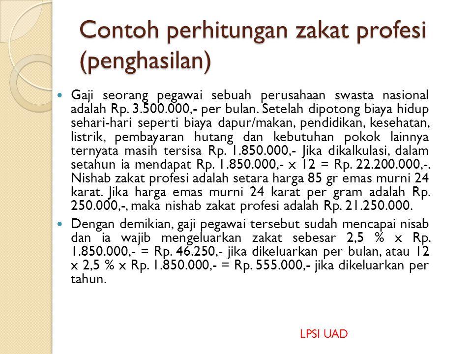Contoh perhitungan zakat profesi (penghasilan)