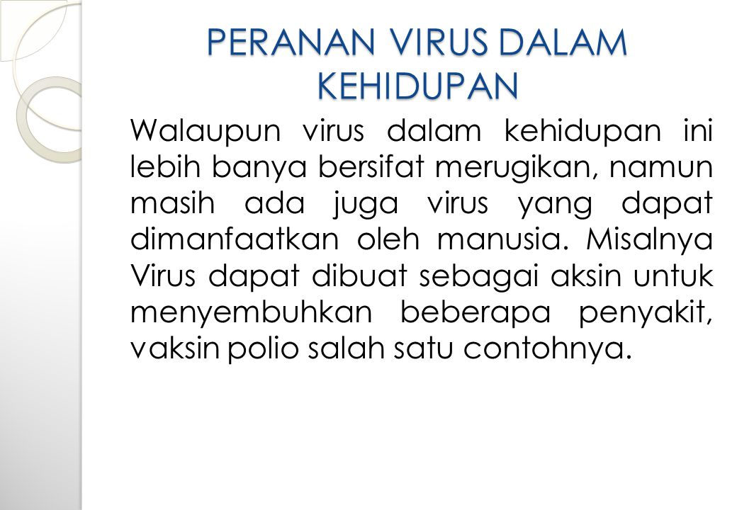 PERANAN VIRUS DALAM KEHIDUPAN