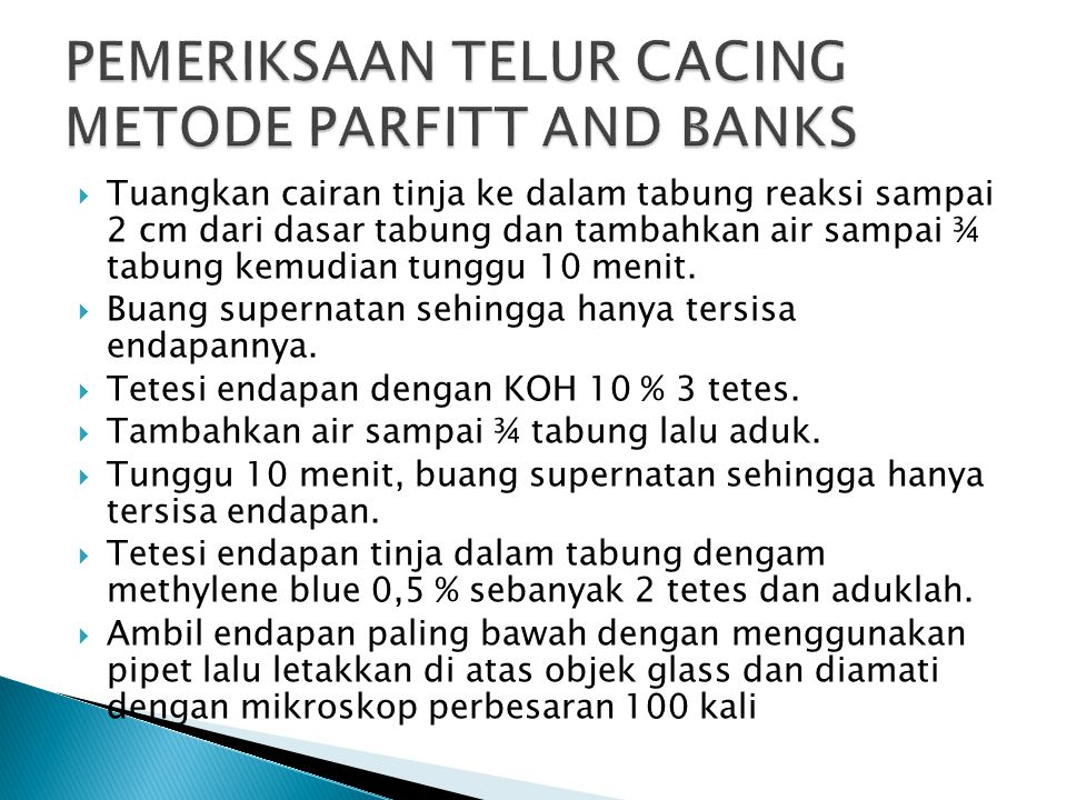 PEMERIKSAAN TELUR CACING METODE PARFITT AND BANKS