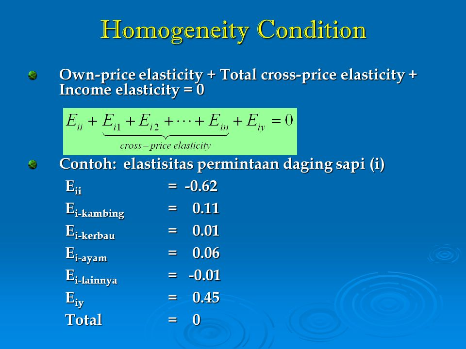Homogeneity Condition
