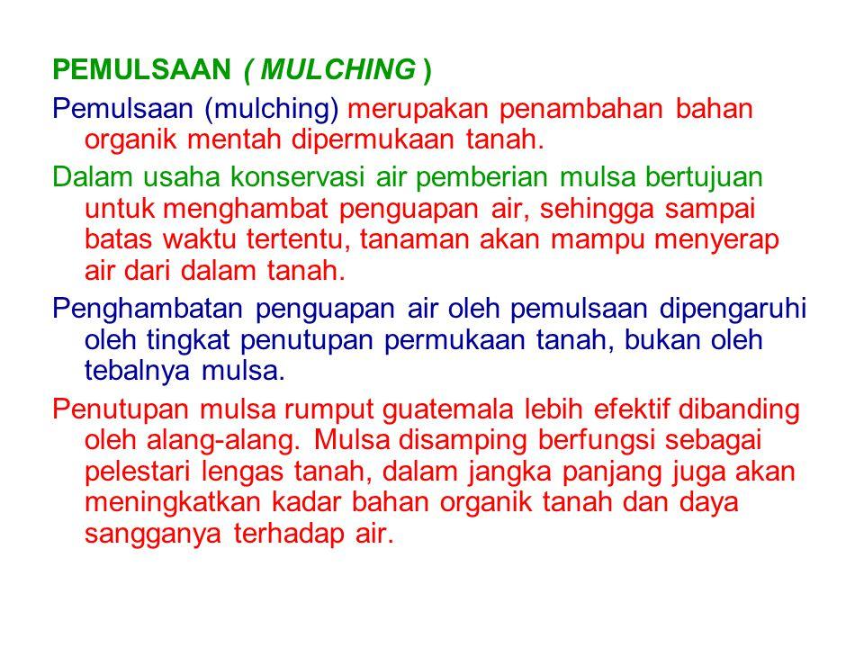 PEMULSAAN ( MULCHING ) Pemulsaan (mulching) merupakan penambahan bahan organik mentah dipermukaan tanah.