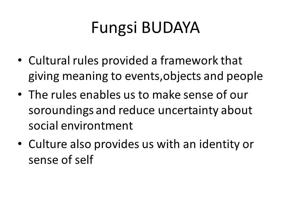 Fungsi BUDAYA Cultural rules provided a framework that giving meaning to events,objects and people.