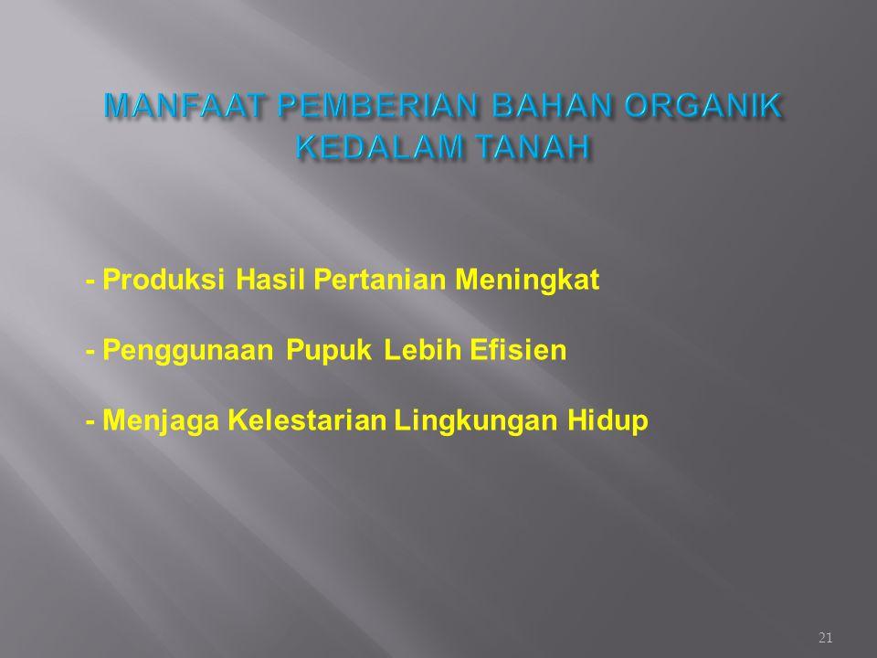 MANFAAT PEMBERIAN BAHAN ORGANIK KEDALAM TANAH