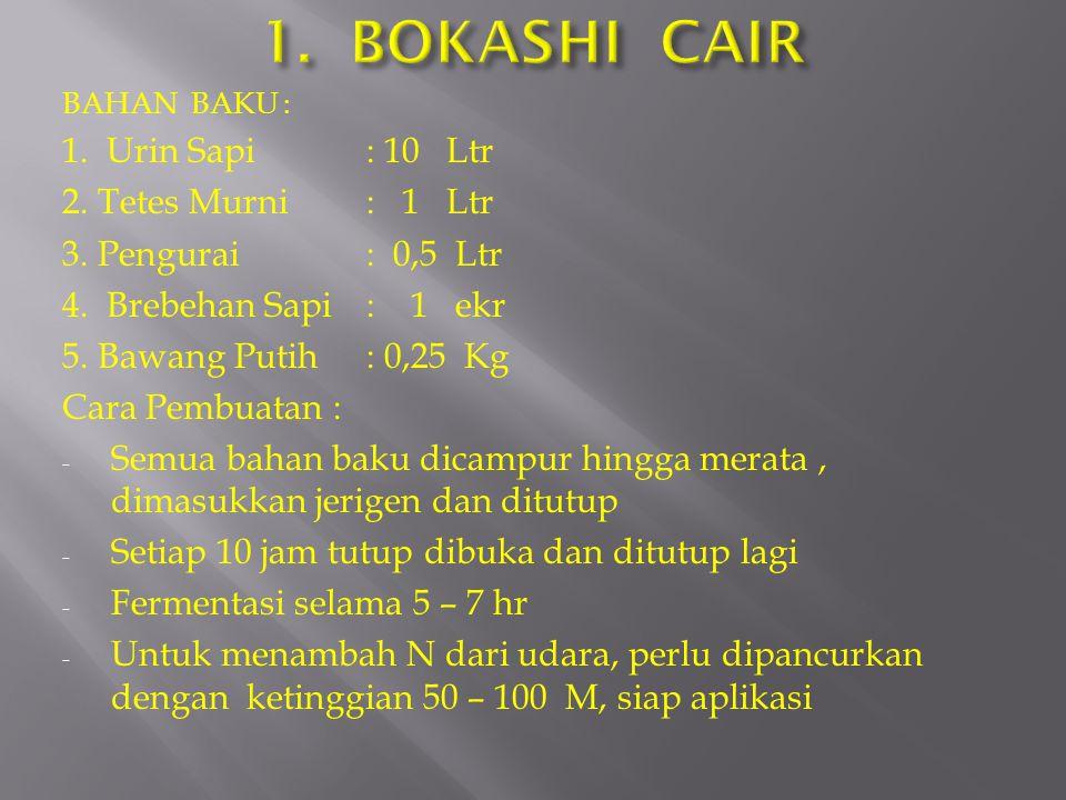 1. BOKASHI CAIR 1. Urin Sapi : 10 Ltr 2. Tetes Murni : 1 Ltr