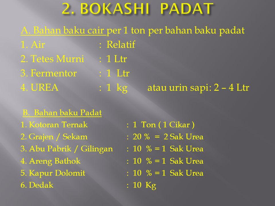 2. BOKASHI PADAT A. Bahan baku cair per 1 ton per bahan baku padat