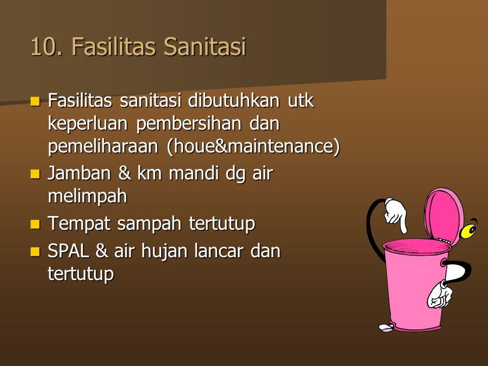 10. Fasilitas Sanitasi Fasilitas sanitasi dibutuhkan utk keperluan pembersihan dan pemeliharaan (houe&maintenance)
